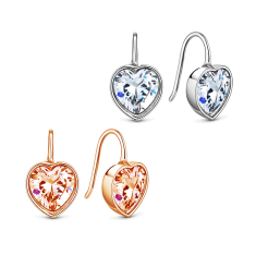Bella Heart Shaped Earrings in both Rose Gold and Rhodium Plating