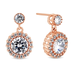 Blossom Drop Earrings in Rose Gold Plating