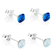 Sapphire and Opal Stud Earrings Set