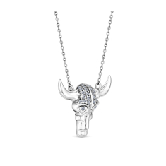 BULLS HEAD PENDANT IN RHODIUM PLATING WITH CZ CRYSTALS