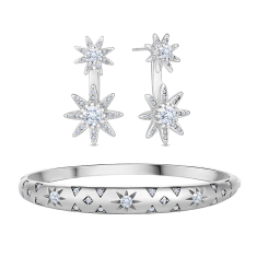 Celestial Bangle in Rhodium Plating and Starburst Ear Jackets