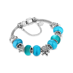 Charm Bracelet with Beach Charms and Pale Blue Beads
