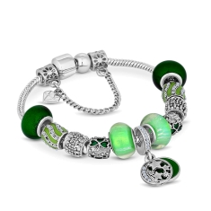 Charm Bracelet with Green Charms