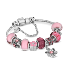 Charm Bracelet with Light Pink Charms