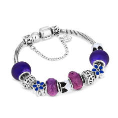Charm Bracelet with Purple beads