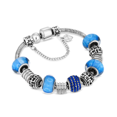 Charm Bracelet With Royal Blue Beads and Crystals