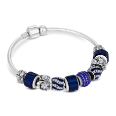 Charm Bracelet with Royal Blue Charms on Solid Bangle