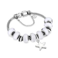 Charm Bracelet with White Beads