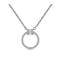 Circle Pendant Small with crystals in rhodium