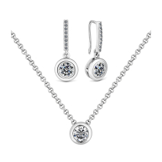 Circle Surround Pendant and Earrings