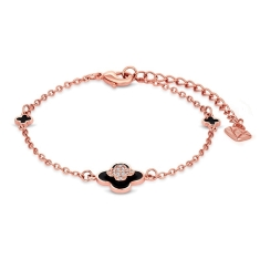 Clover Bracelet in Rose Gold Plating