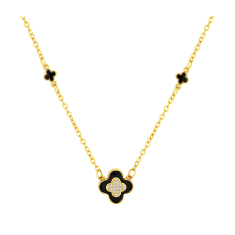 Clover necklace in yellow gold plating and black enamel