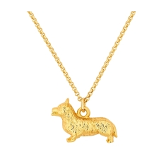 Corgi Pendant in Yellow Gold Plating