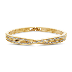 Criss Cross Bangle in Yellow Gold Plating