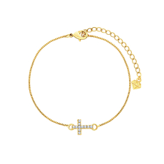 Cross bracelet with crystals in yellow gold plating