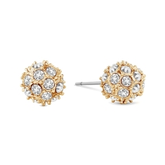 Crystal Ball Studs in Yellow Gold Plating