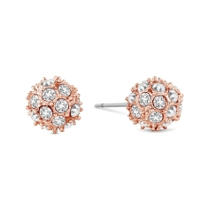 Crystal Ball Stud in Rose Gold Plating