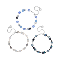 Cube Bracelets in Black, White and Blue