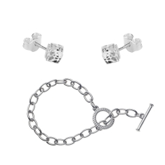 Tiffany style Bracelet and Cube Stud Earrings Set