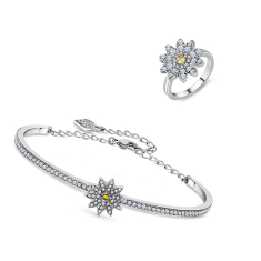 Daisy Bangle and Daisy Ring (Size 6 US) in Rhodium Plating