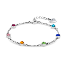Dew Drop Bracelet with Multi Colour Crystals
