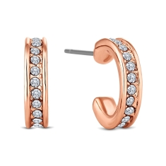 Domino Hoop Earrings in Rose Gold Plate