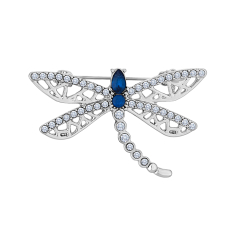 Dragonfly Brooch with Blue and Clear Crystals