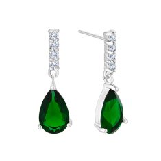 Droplet Earring with Green Crystals
