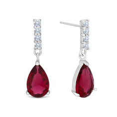Droplet Earrings with Red Crystal