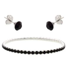 Jet Black Elizabeth Bracelet and Stud Earrings Set