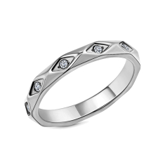 Faceted ring in rhodium plating size 6