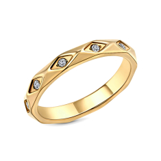 Faceted ring in yellow gold plating size 6