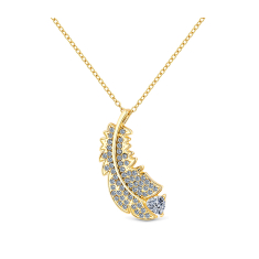Feather pendant in yellow gold plating