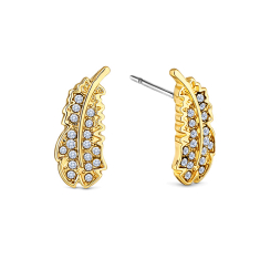 Feather stud earrings in yellow gold plating