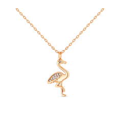 FLAMINGO PENDANT IN ROSE GOLD PLATING WITH CLEAR CRYSTALS