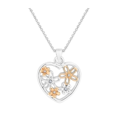 Flower Heart Pendant in Mixed Plating