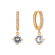 Gem Drop Hoop Earrings in Gold Plating