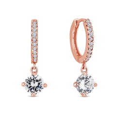 Hoop Earrings with a Gem Drop in Rose Gold Plating