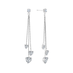 Heart Tassel Drop Earrings