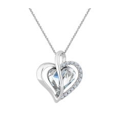Heart Twist Pendant with Large Crystal