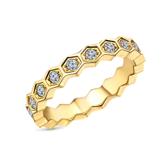 Hexagon ring in yellow gold plating in US size 6