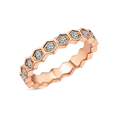 Hexagon ring in rose gold plating in US size 6