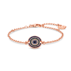 Honey Comb Bracelet with Blue Crystals in Rose