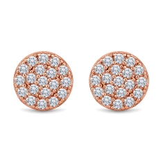 Honeycomb Stud Earrings in Rose Gold Plating