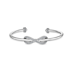 Infinity Cuff Bangle with Crystals in Rhodium Plating