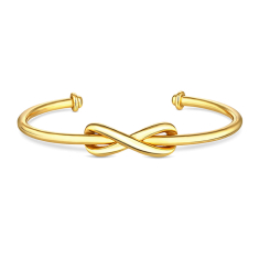 Infinity Cuff Bracelet in Gold Plating