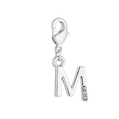 Initial M Charm, Made with Swarovski Elements