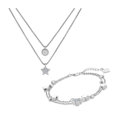 Layered Star Necklace and Constellation Bracelet Set