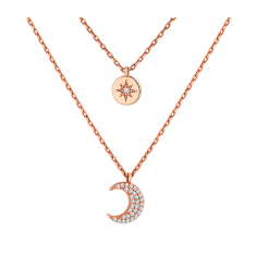 Layered moon necklace in rose gold plating