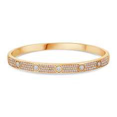 Love Bangle with Crystals in Gold Plating